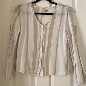 Stripe top with bell sleeves